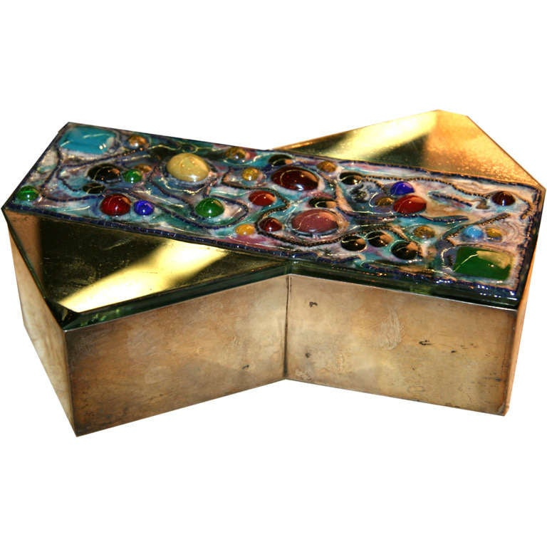 Fontana Arte Silver Box with Mirror and Glass Jewel Top For Sale