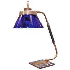 Italian Cobalt Blue Glass Desk Light