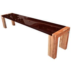"""Il Moro"" Solid ""Panga Panga Wenge"" and Olive Wood Bench"