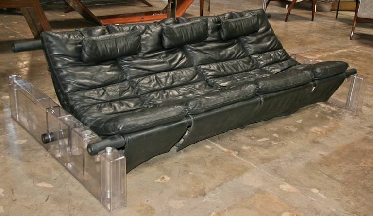 Italian 1970 plexi and leather sofa.
