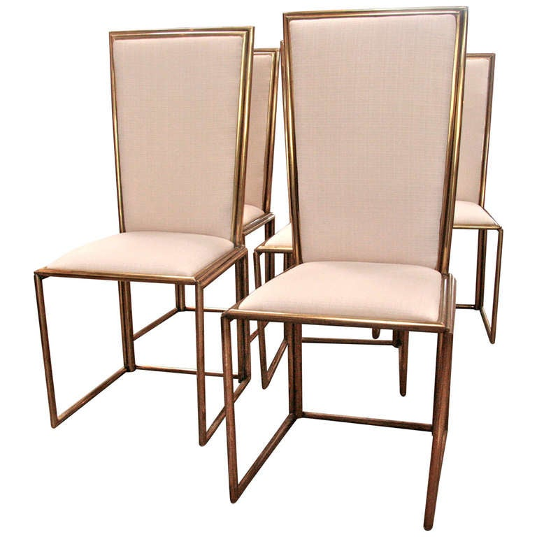 Italian Chairs In Brass 1960 For Sale