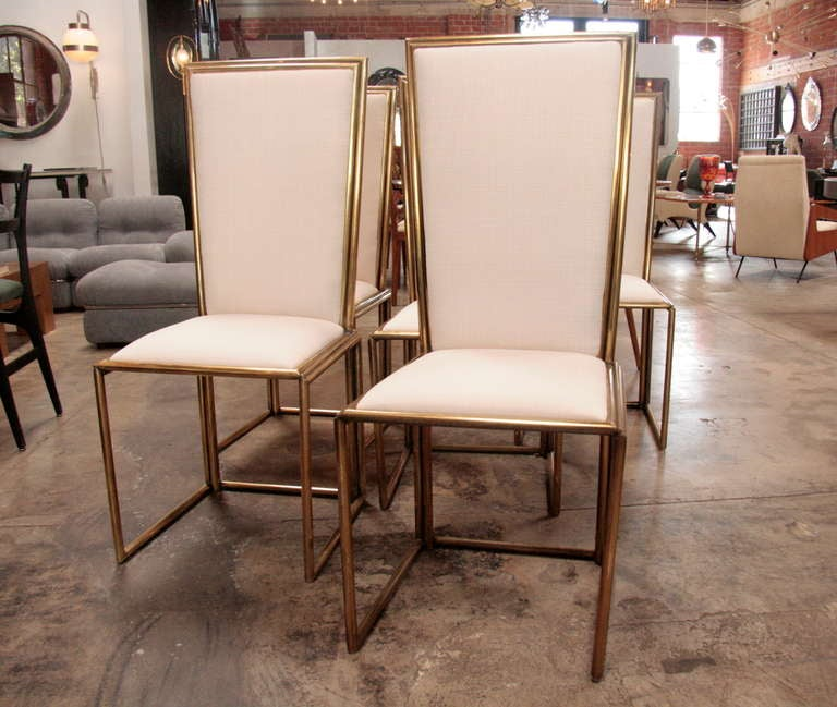 Italian Chairs In Brass 1960 In Good Condition For Sale In Los Angeles, CA