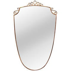 Mid- Century Italian Large Mirror with Brass Frame