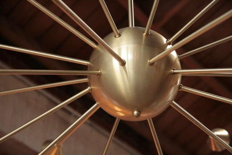 20th Century Brass Sputnik Chandelier with Twenty Arms For Sale