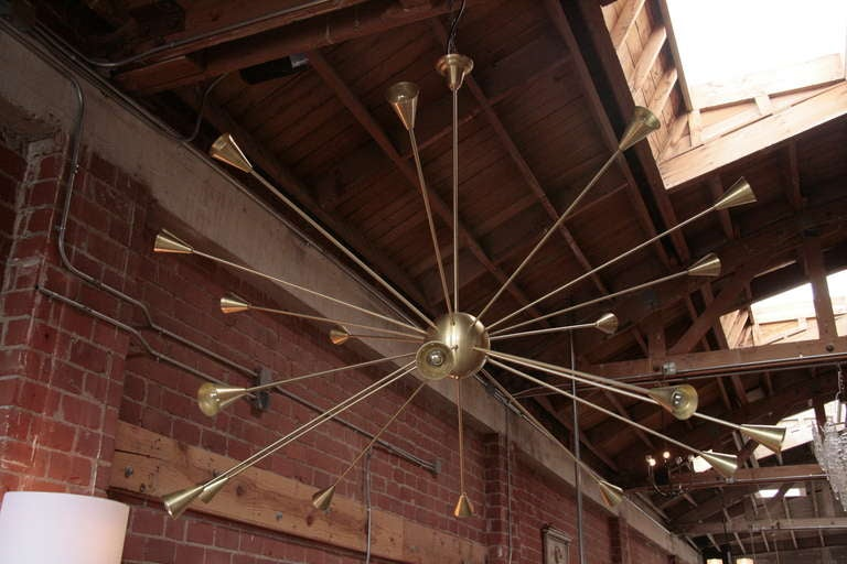 Italian Brass Sputnik Chandelier with Twenty Arms For Sale