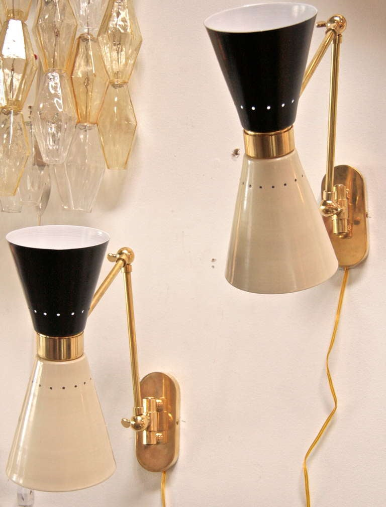 Italian two-tone lacquered sconces for reading or etc.