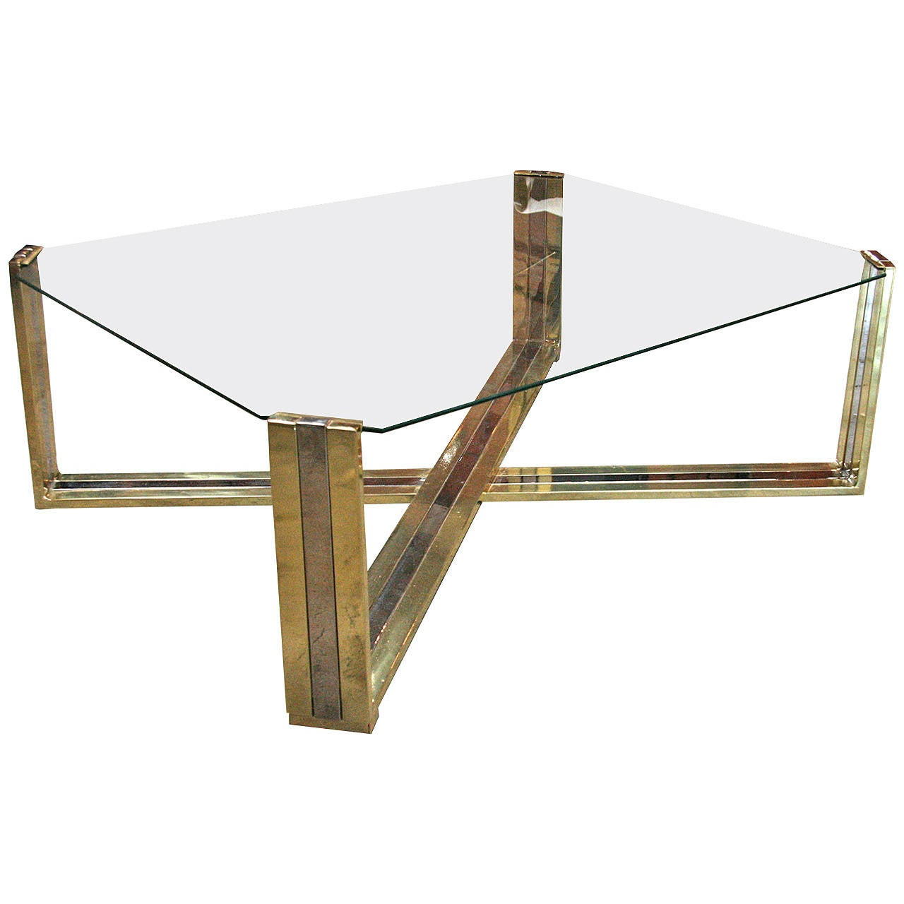 Italian Coffee Table Brass And Steel 1960s For Sale At 1stdibs