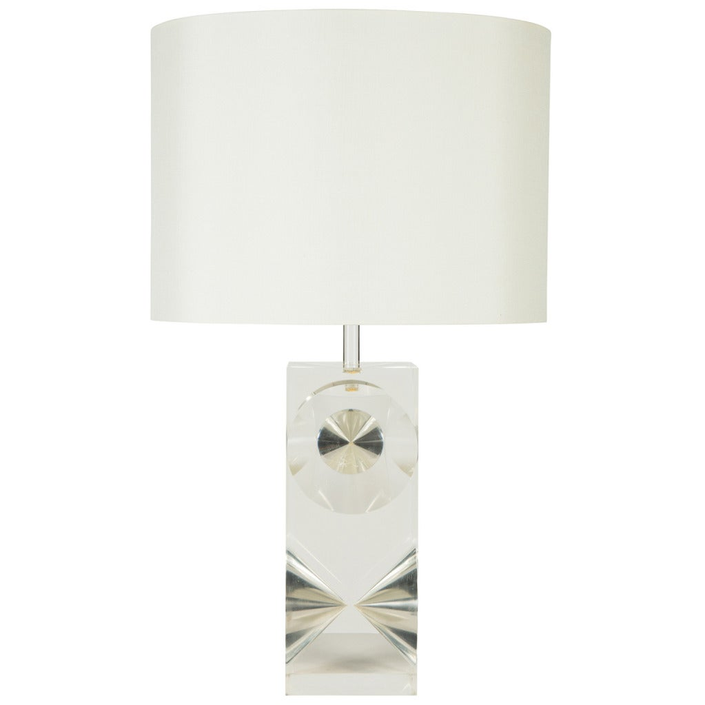 French Sculptural Lucite Table Lamp