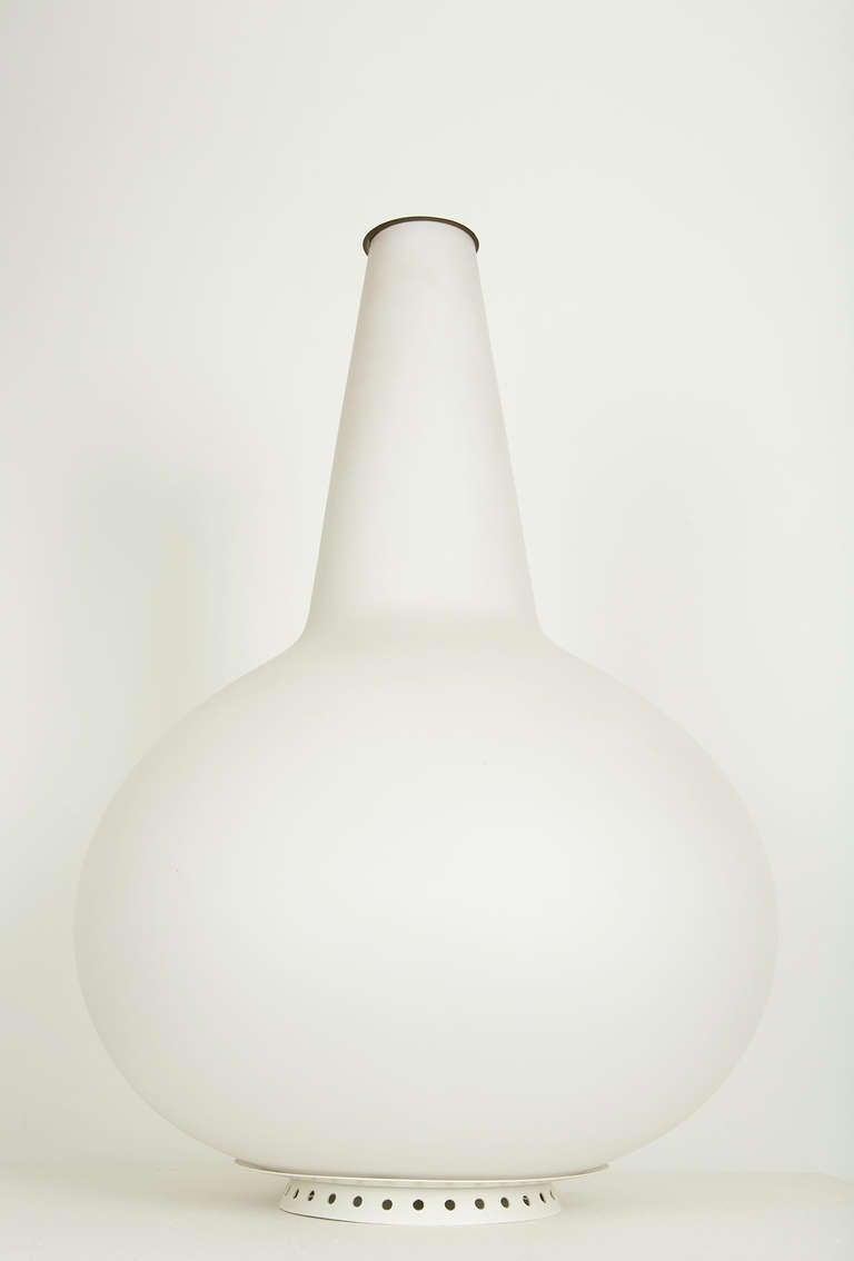 Mid-Century Modern Satin Glass Vase Lamp by Fontana Arte For Sale