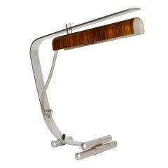 Wood and Stainless Steel Italian Table Lamp