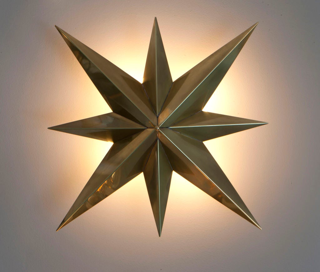 Rewire custom star wall/ceiling light. Available in a variety of finishes. Takes two E26 60w maximum bulbs. 6-8 week lead time when not in stock
