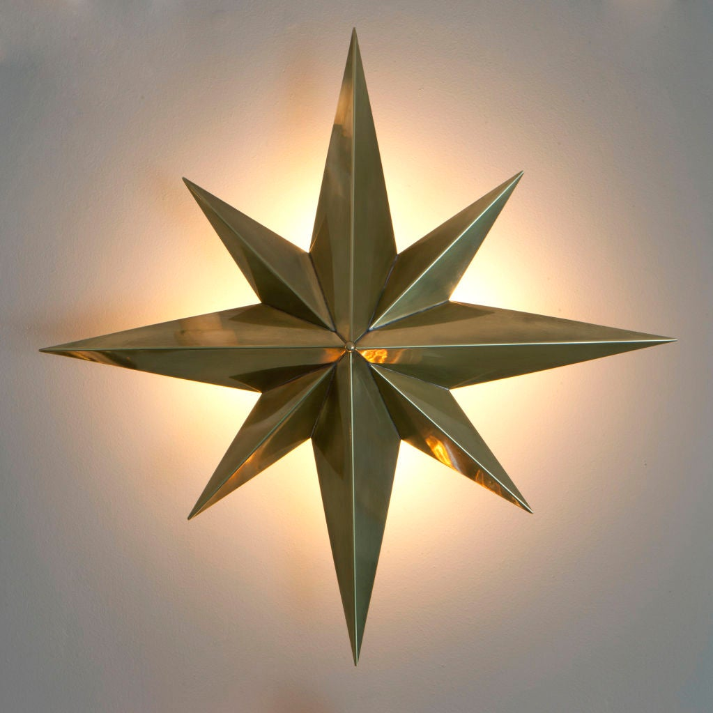 Mid-Century Modern Rewire Custom Star Wall/Ceiling Light For Sale