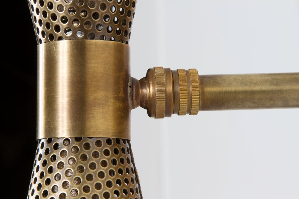 Rewire Custom Brass Perforated Sconces For Sale 4