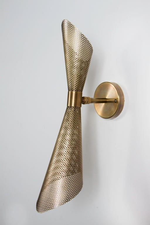 American Rewire Custom Brass Perforated Sconces For Sale