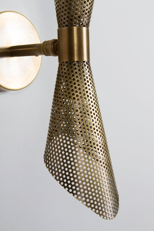 Rewire Custom Brass Perforated Sconces For Sale 2