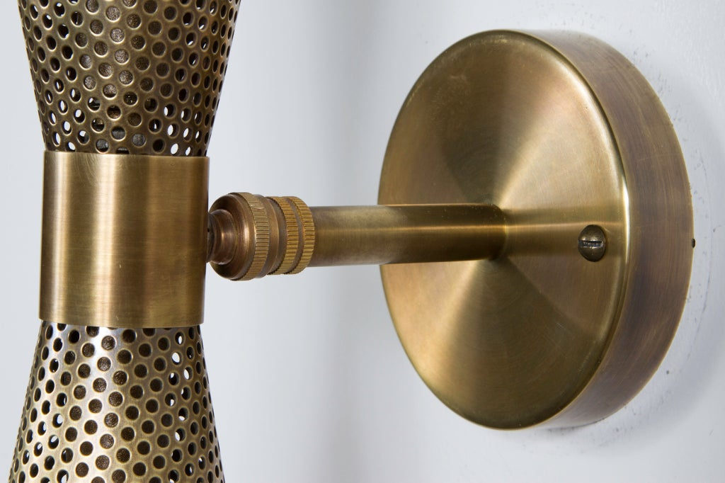 Rewire Custom Brass Perforated Sconces For Sale 3