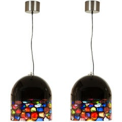Pair of Murano Glass Pendants by Leucos