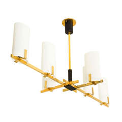 Six Shade Brass and Glass Chandelier by Arlus