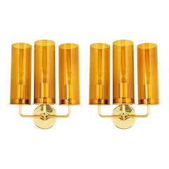 Hans Agne Jakobsson Glass and Brass Sconces