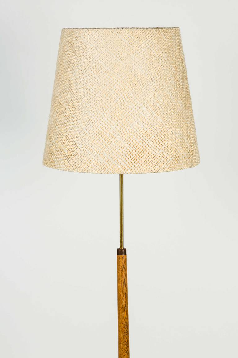 Danish oak floor lamp with handmade shade at 1stdibs - Hand made lamps ...