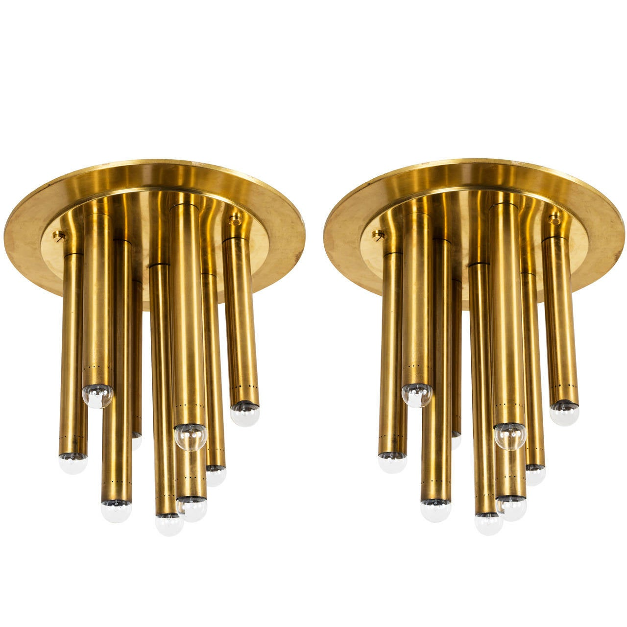 Pair of Brass Italian Ceiling Lights 1