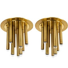Pair of Brass Italian Ceiling Lights