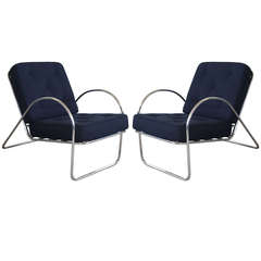 Pair of Deco Vintage Chrome Lounge Chairs