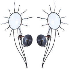 Andre Dubreuil Iron Sunburst Sconces
