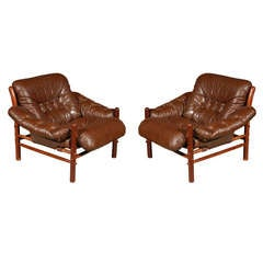 Pair of Brown Tufted Leather Chairs by Arne Norell