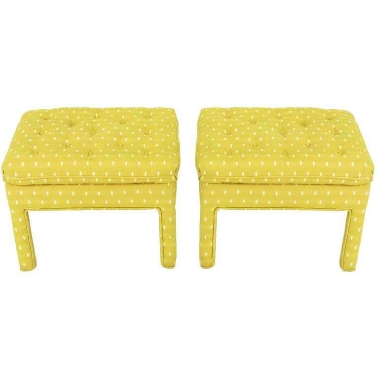 Pair Fully Upholstered Button-Tufted Parsons Benches