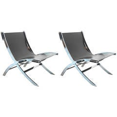 Pair of Chrome-Plated Steel Lounge Chairs
