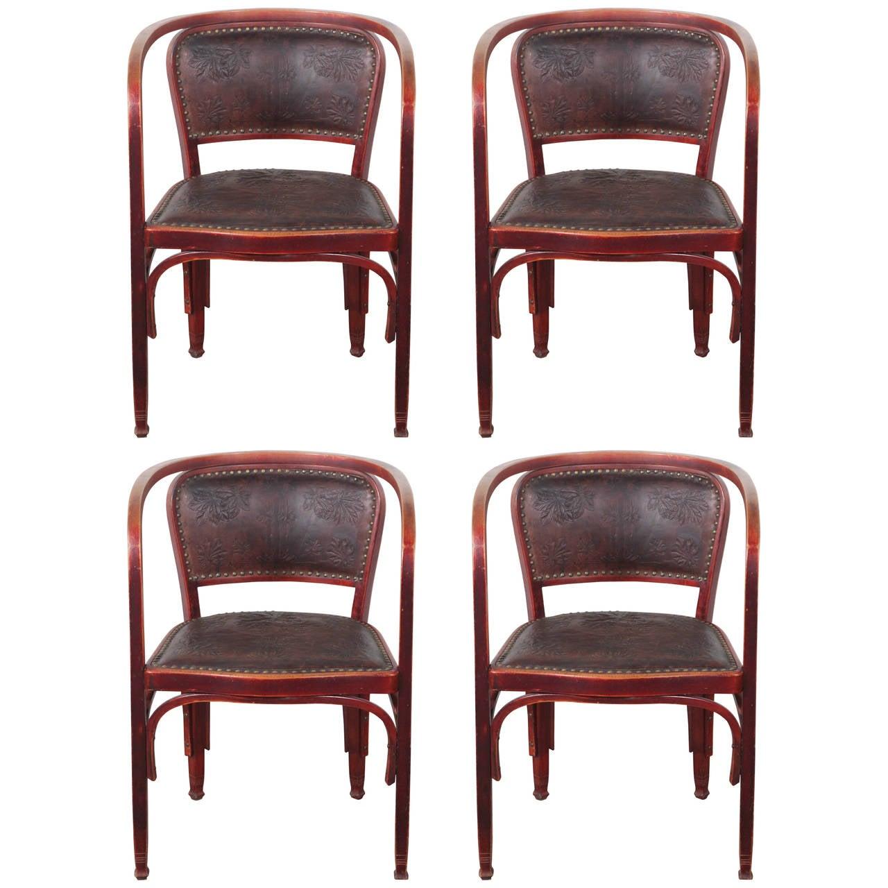 Set of Four Gustav Siegel Armchairs