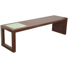 Enameled Metal and Green Tile Coffee Table