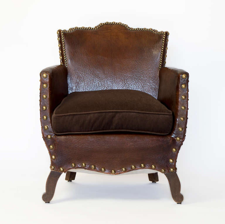 French Library Leather Armchair In Good Condition For Sale In Los Angeles, CA