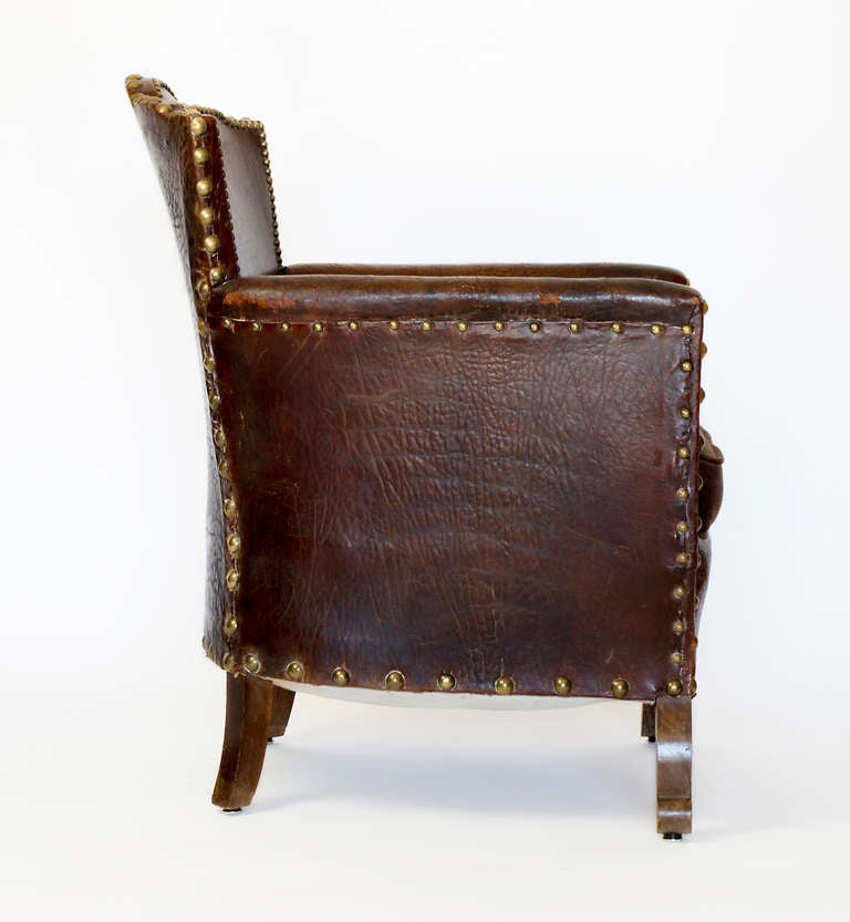 20th Century French Library Leather Armchair For Sale