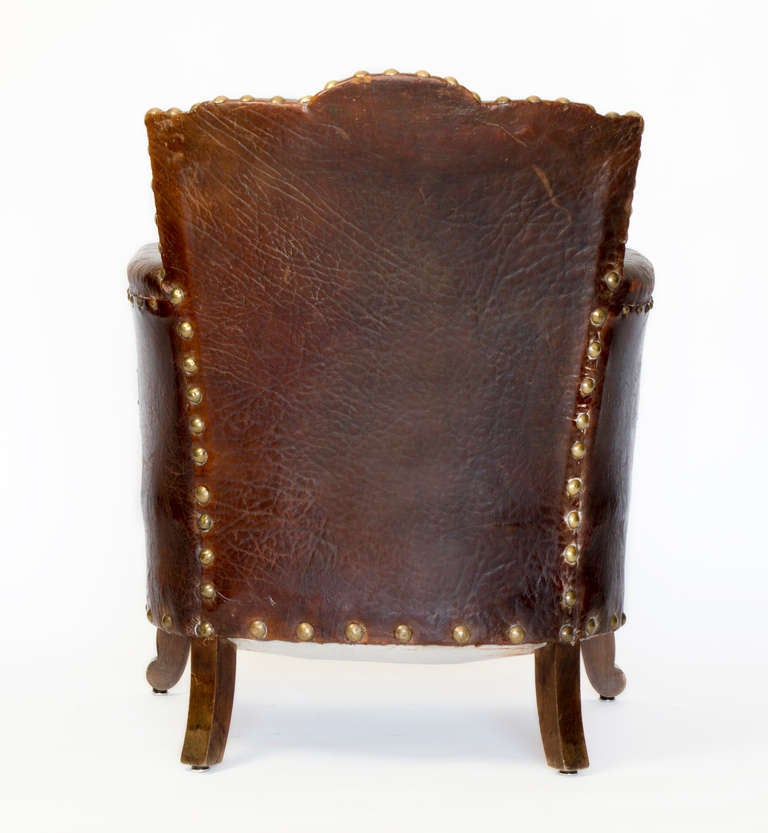 French Library Leather Armchair For Sale at 1stdibs