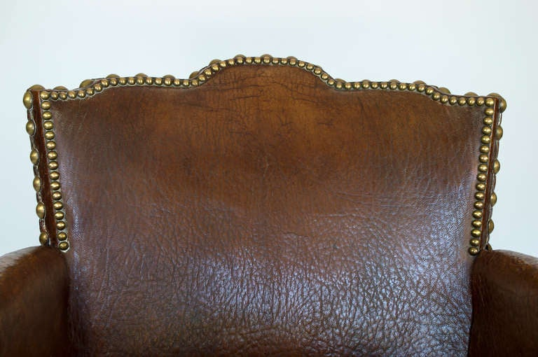 French Library Leather Armchair For Sale 2
