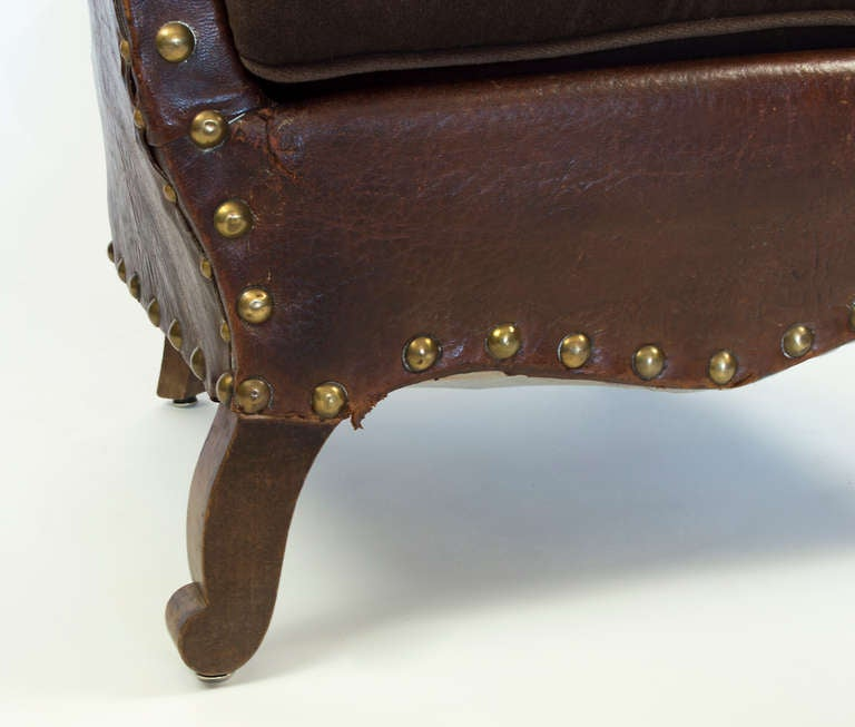 French Library Leather Armchair For Sale 3