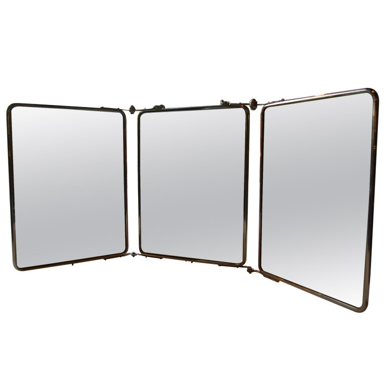 Turn of the century tri fold mirror at 1stdibs for Tri fold mirror