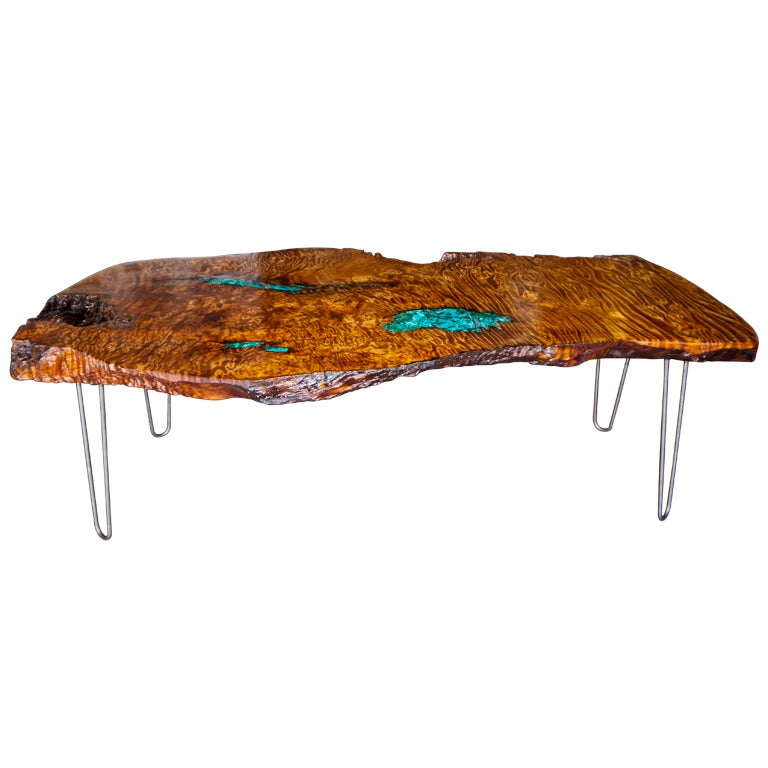 Redwood Coffee Table With Malachite Inlay At 1stdibs