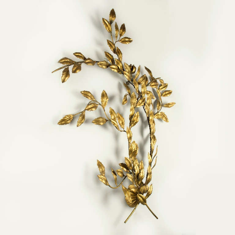 Wall Sconces With Leaves : Pair of Leaf Design Wall Sconces For Sale at 1stdibs