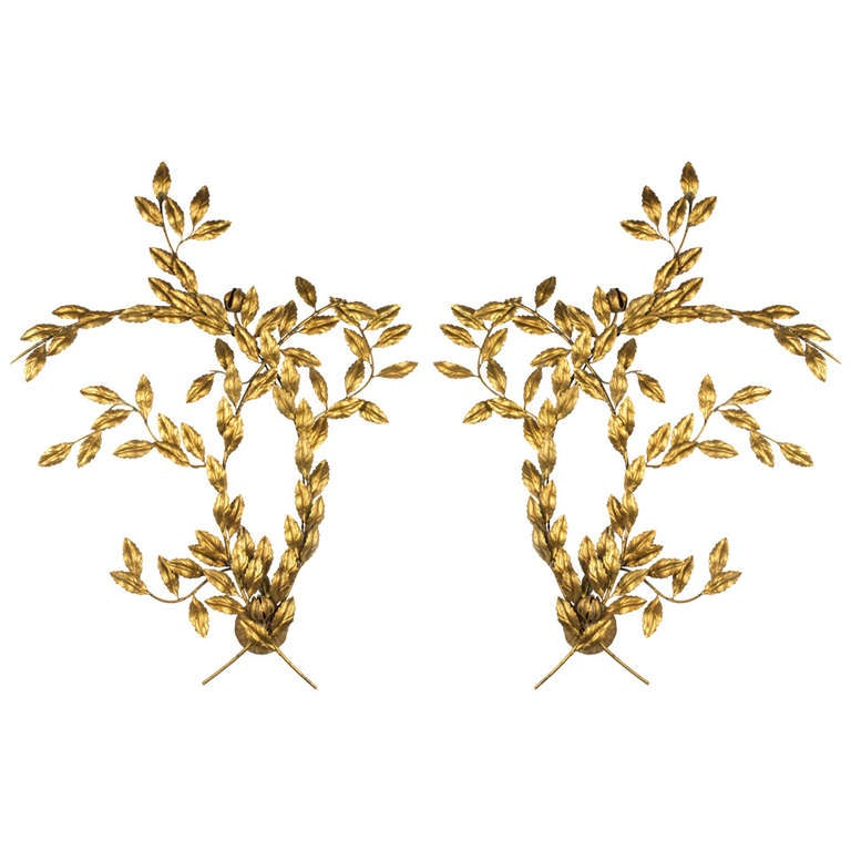 Pair of Leaf Design Wall Sconces For Sale at 1stdibs