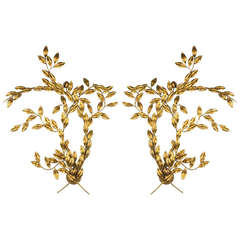 Pair of Leaf Design Wall Sconces