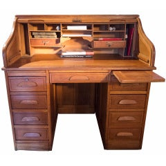 1930's French Roll Top Desk