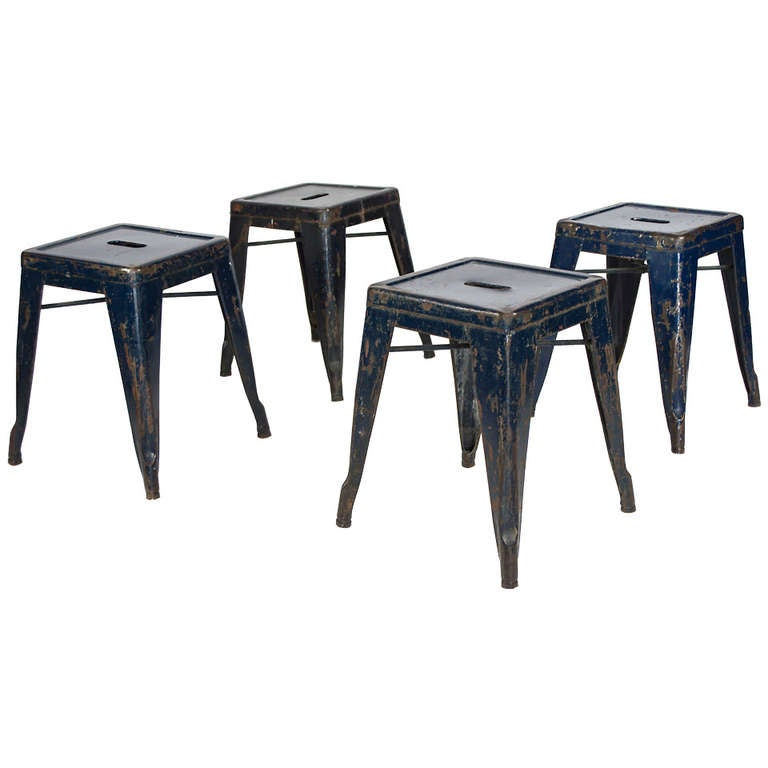 Pair Of Tolix French Army Stools At 1stdibs