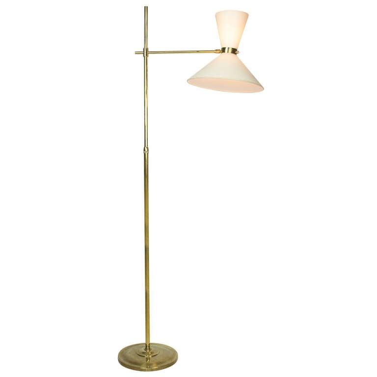 mid century brass adjustable floor lamp at 1stdibs. Black Bedroom Furniture Sets. Home Design Ideas