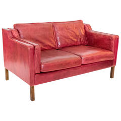 Red Leather Sofa by Borge Mogensen