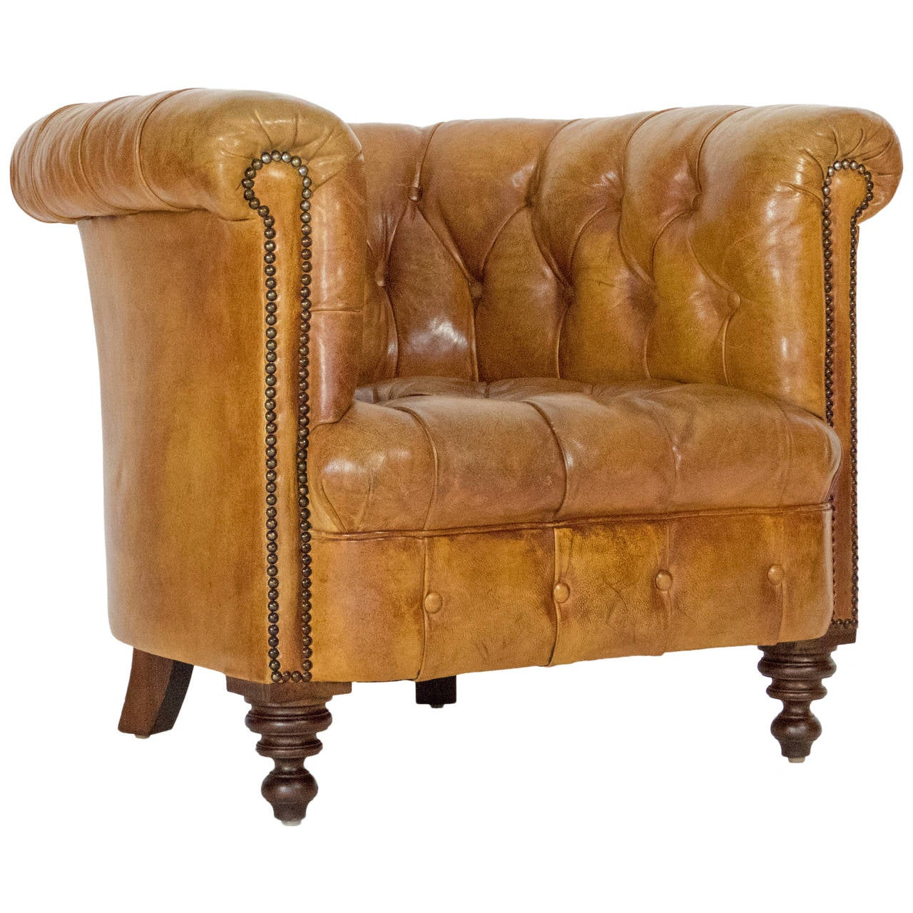Leather Chesterfield Armchair For Sale