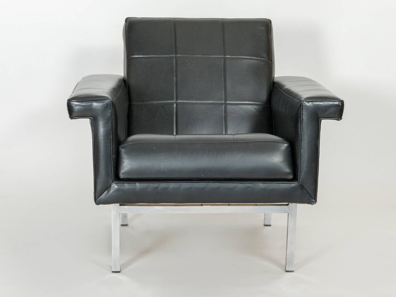 Mid-Century Modern French Quilted Leather Armchairs For Sale