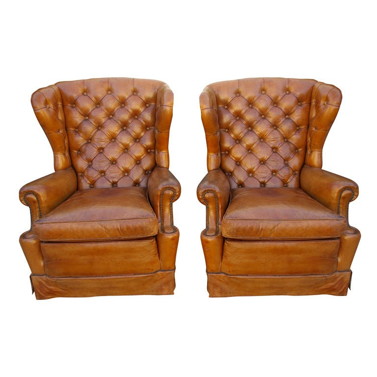 Original 1920u0027s Leather Wingback Chairs 1